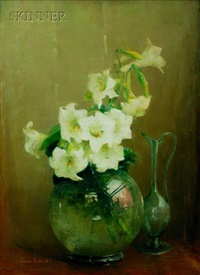 lilies in glass vase by anna s. fisher