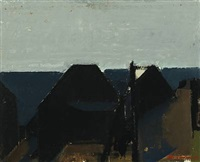 composition with houses and sea by jack kampmann