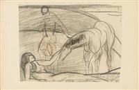 ohne titel (komposition mit 2 figuren und pferd) (?) by max ackermann
