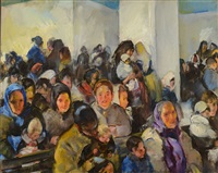 german section deporting room (from ellis island series) by martha walter