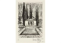pool in le baule; st. anne's church (2 works) by bernard buffet