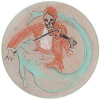 la mort jouant du violon et sirène by rené magritte