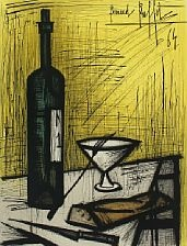 still life with bread and wine by bernard buffet