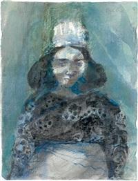 bilha. portrait einer dunkelhaarigen frau mit kleinem hut by emil wachter