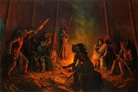 frontiersman and his daughter held captive inside indian tent by astley david middleton cooper