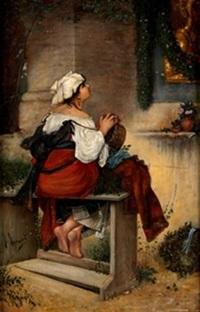 joven rezando by joaquín agrasot y juan