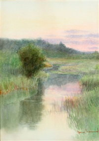 summer landscape clearing with stream at dusk by marion kavanaugh wachtel