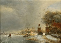 winter landscape, with figure skating on a river by johannes franciscus hoppenbrouwers