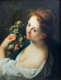 portrait of a young girl with floral wreath by continental school (19)