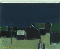 coastal scenery at night with houses by jack kampmann