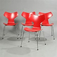 grand prix set of four chairs by arne jacobsen