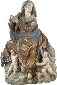 heilige maria, von engeln über wolken getragen by hans degler