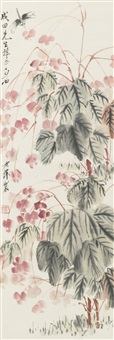 dragonfly and bougainvillea flower by qi baishi