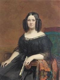 porträt einer dame in schwarzem spitzenkleid by joseph henri françois van lerius