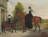 lady antrobus and son at ottershaw park, surrey by james (of bath) loder