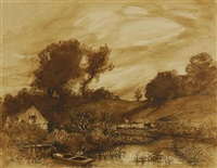 landscape with boathouse by charles henry miller