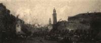 market scene in the town square by jules henri veron-fare