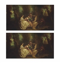 elegant company music making and singing in a wooded landscape (+ elegant company music making and singing in a wooded landscape; pair) by jean antoine watteau