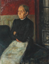 portrait of a seated woman with white apron by georg jacobsen
