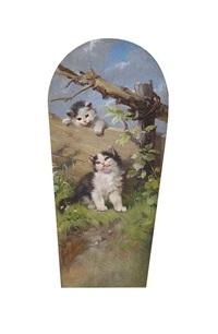 zwei kätzchen an einem holzzaun by julius adam the younger