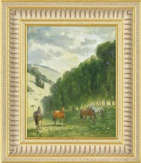 horses grazing by raoul millais