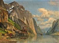 sommerliche fjordlandschaft by joseph holmstedt