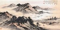 大江日夜流 镜心 设色纸本 by huang junbi