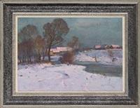 a winter sunset by victor ivanovich koshevoi