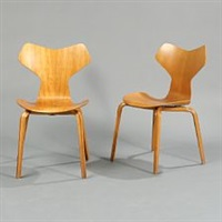 grand prix (model 4130) (pair of chairs) by arne jacobsen