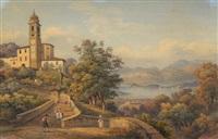 comersee, santuario della beata vergine del soccorso, ossuccio mit blick auf bellagio by salomon corrodi
