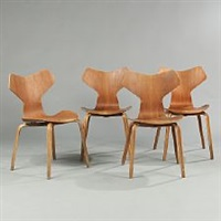 grand prix a set of four chairs by arne jacobsen
