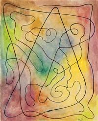komposition auf regenbogenfarbenem grund by hannah höch