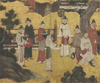chinese courtiers from emperor xuanzong playing the flute (genso heitekisu) (in 2 parts) by japanese school-kano (16)
