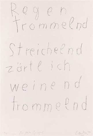 regen trommelnd streichelnd zärtlich weinend trommelnd portfolio of 6 wtitle by günther uecker