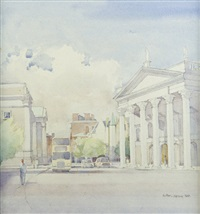 view of the bank of ireland, college green and trinity college, dublin by arthur gibney