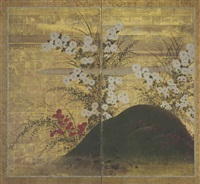 chrysanthemums and autumn grasses (in 2 parts) by japanese school-sotatsu (17)
