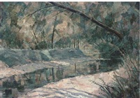 the river at coulobres, languedoc (+ 6 others; 7 works) by frederick stonham