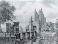 de amsterdamse poort te haarlem by augustus wijnantz