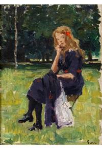 jeune fille assise dans un parc by maximilien luce