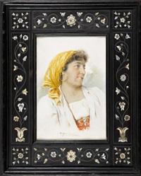 portrait d′une danseuse de tarantella à sorrento by agusto moriani