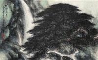 松壑飞泉 镜框 设色纸本 by li xiongcai