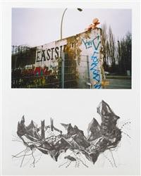 eastside gallery (mauerstück) (+ abstrahierte landschaft, lithograph; 2 works on 1 sheet) (+ another; 4 works on 2 sheets) by franz ackermann