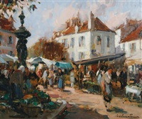 french market scene by paul emile lecomte
