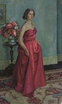 portrait of mrs. june stonham in a pink ball-gown, with flowers beyond (+ 12 others, incl. 2 wood sculptures; 13 works) by frederick stonham
