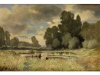 moorlandschaft mit zwei anglern an einem holzsteg by charles félix edouard deshayes