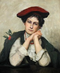 portrait of a scottish lady wearing a red beret and sprig of holly by beatrice m. bristowe