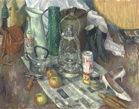 lantern, kettle, apples, tools, a jug and shoes (+ 4 others; 5 works) by frederick stonham