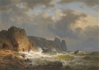 coastal scene with figures rescuing survivors from a wreck by h meulus