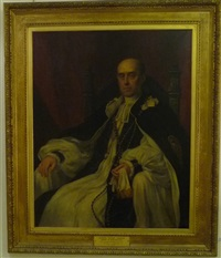 portrait of anthony wilson thorold, bishop of winchester, seated, wearing official robes by eden upton eddis