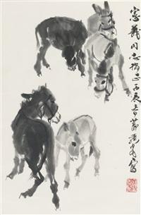 five donkeys by huang zhou